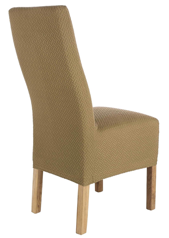 SCHEFFLER-Home Luna-Long 2 Fundas de sillas, Estirable Cubiertas, Chenilla extraíble Funda con Banda elástica, Beige