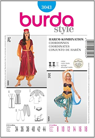 Burda 3043 Knitting Patterns Harem Costume Combination Amazon