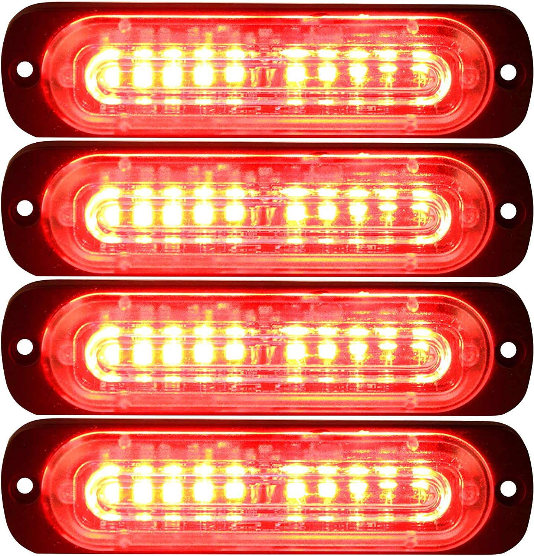 Primelux 4-Pack 4.4-Inch 10 LED Ultra Slim Strobe LED Lighthead External Emergency Grille Surface Mounting Lights Red