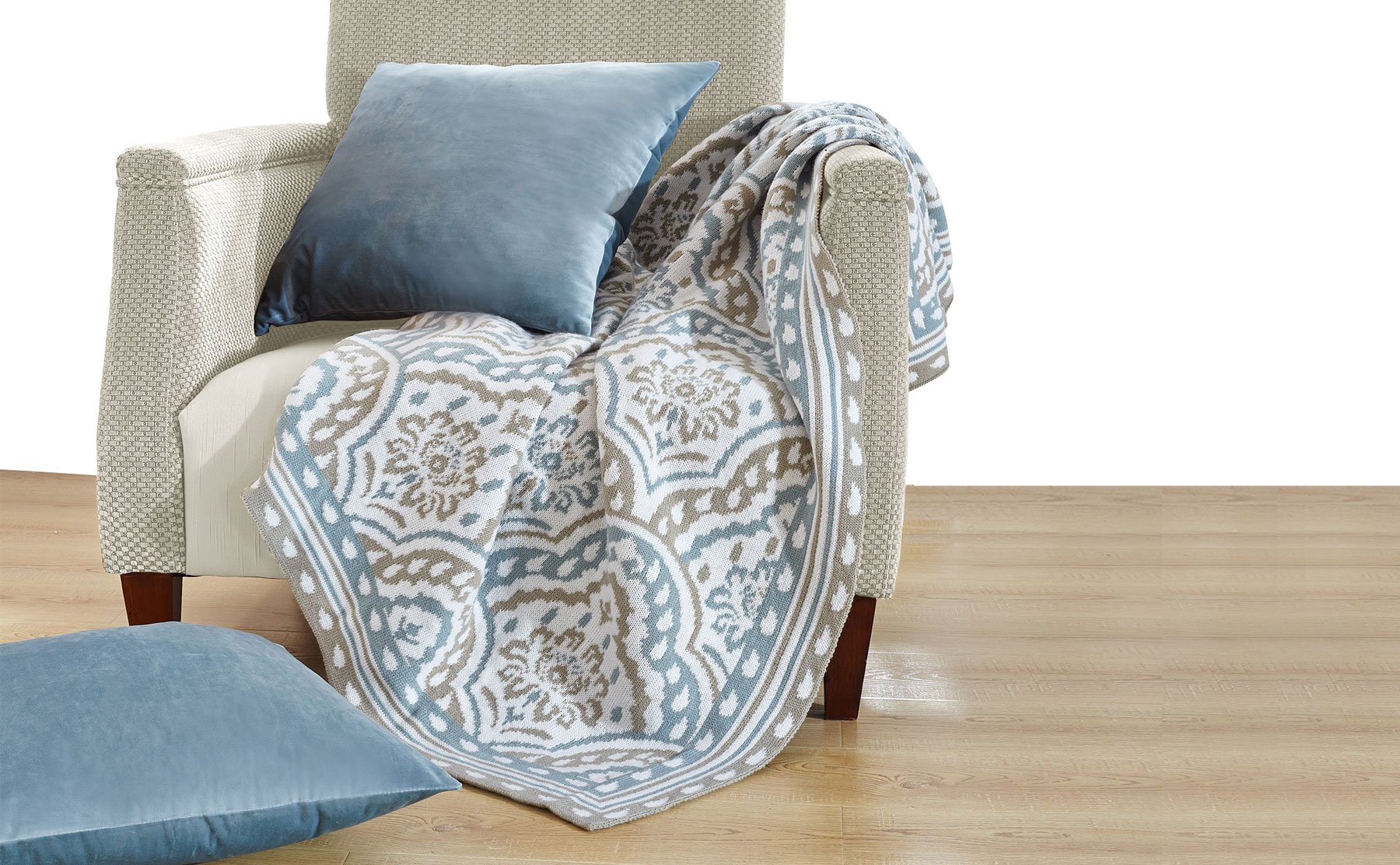 """Home Soft Things Knitted Woven Throw with 2 Pillow Shells Combo Set, Tivoli - Combo Set comes with (1) Throw & (2) Pillow Shell with Matching Color Throw Size: 50"""" x 60"""" Pillow Shell Size: 18"""" x 18"""" - blankets-throws, bedroom-sheets-comforters, bedroom - 81X9K%2Bj3SdL -"""