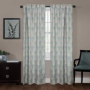 Zenna Home Linen Damask Window Curtain, 40 x 84, Blue