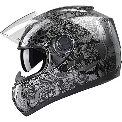 GLX Unisex-Adult GX15 Lightweight Full Face Motorcycle Street Bike Helmet with Internal Sun Visor DOT Approved (Skull, Medium): Automotive [5Bkhe2006255]