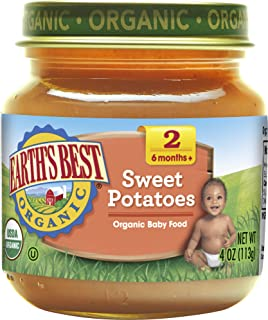 Earths Best Organic Stage 2 Baby Food, Sweet Potato, 4 oz. Jar (