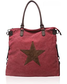 ae5ea5adc LeahWard School Bags Women's Canvas Shoulder Bag Handbag For Holiday  Weekend Light Weight Bags