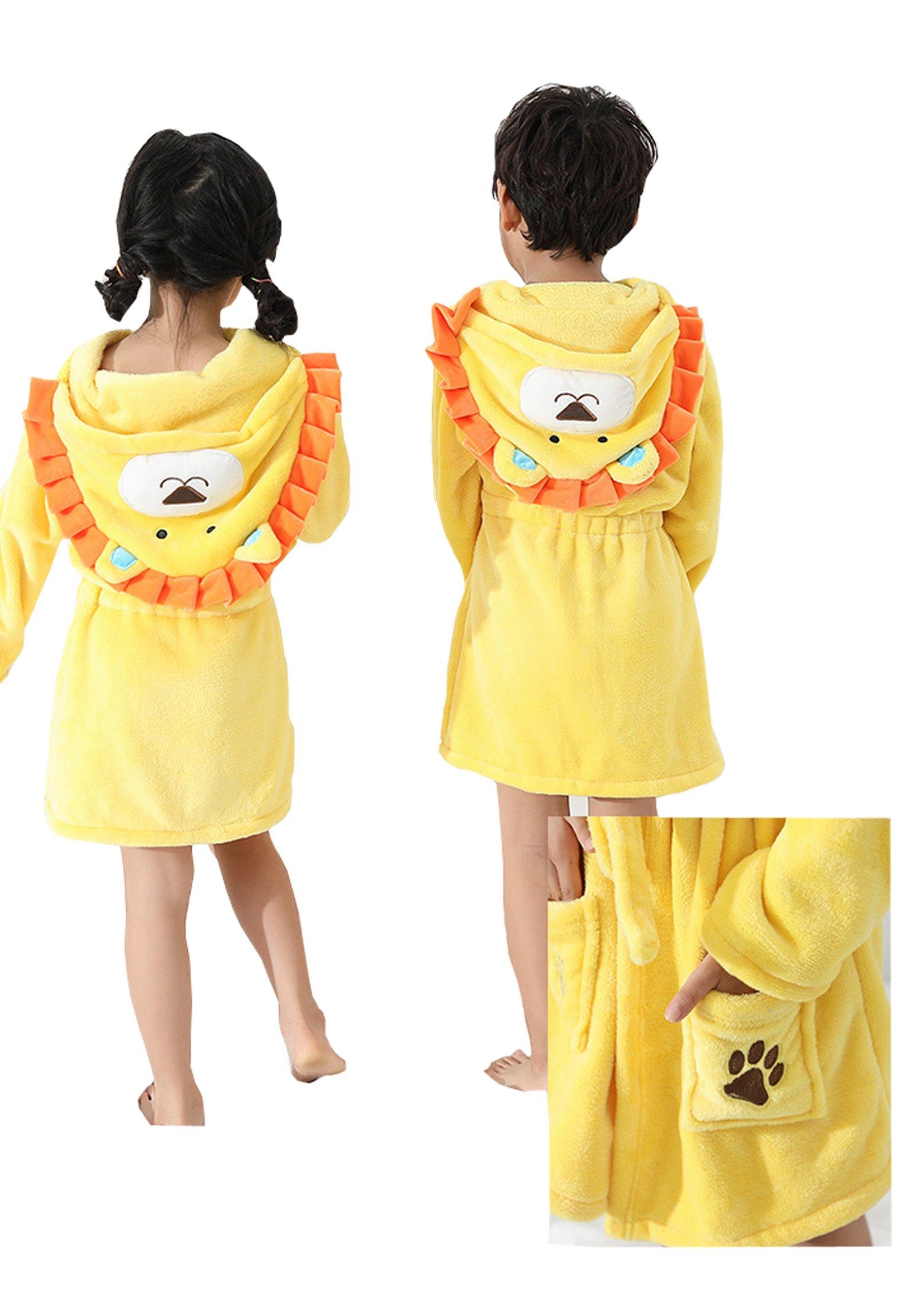 EPLAZA 3-6 Year Girl Boy Flannel Hooded Cute Animal Robe Sleepwear Kid Bathrobe Convertible Pillow (Tag 120, Yellow Lion) by EPLAZA (Image #5)