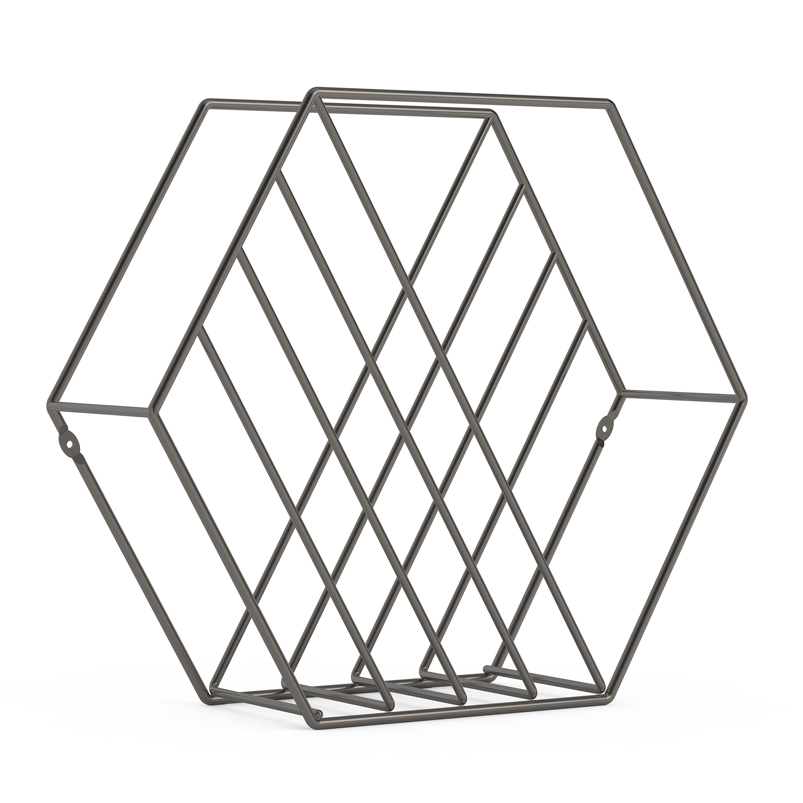 Umbra Zina Magazine Rack & Record Holder, Perfect for Vinyl Record Storage, Stands or Mounts to Wall, Titanium by Umbra