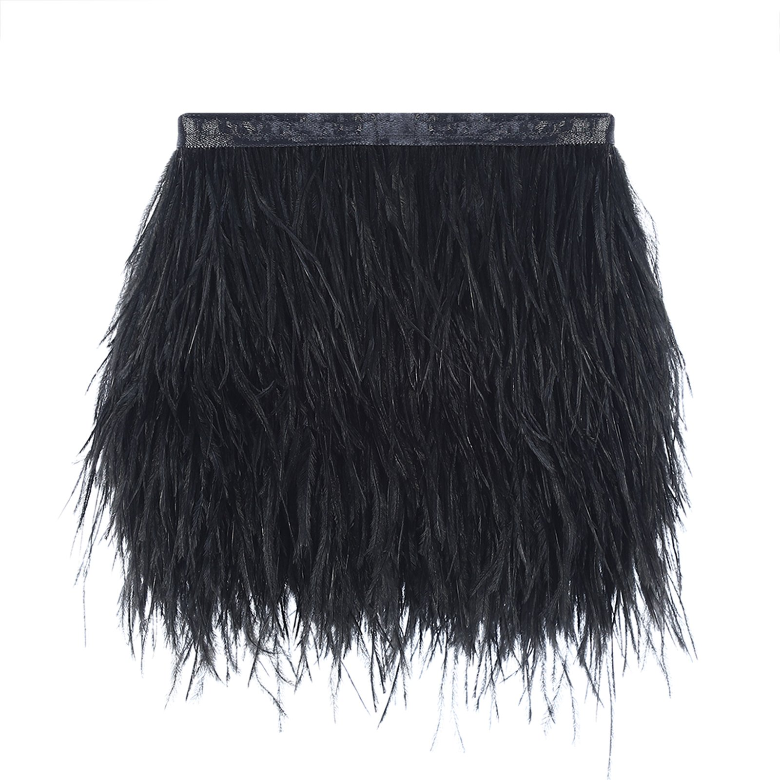 10 Yards Ostrich Feather Trim Fringe on Satin Header 4-6inch in Width for Wedding Sewing Crafts Costumes Decoration (Black) by AWAYTR