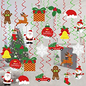 Tifeson Christmas Decorations, 36 Pcs Xmas Holiday Hanging Swirls Decoration, Snowman Snowflake Ceiling Hanging Decor for Christmas Party Supplies Xmas Decor