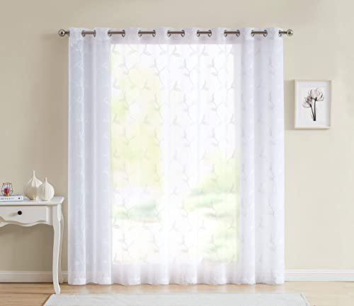 LinenZone – Maria – Embroidered Semi Sheer Curtains With Grommets – 1 Extra Wide Patio Curtain Panel – Ideal for Sliding and Patio Doors 1 Panel 102 W x 84 L, White