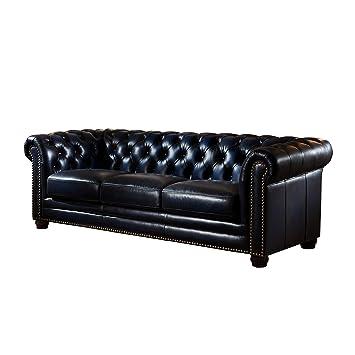 Amazon.com: Coja por sofa4life Geary sofá de piel, Azul ...