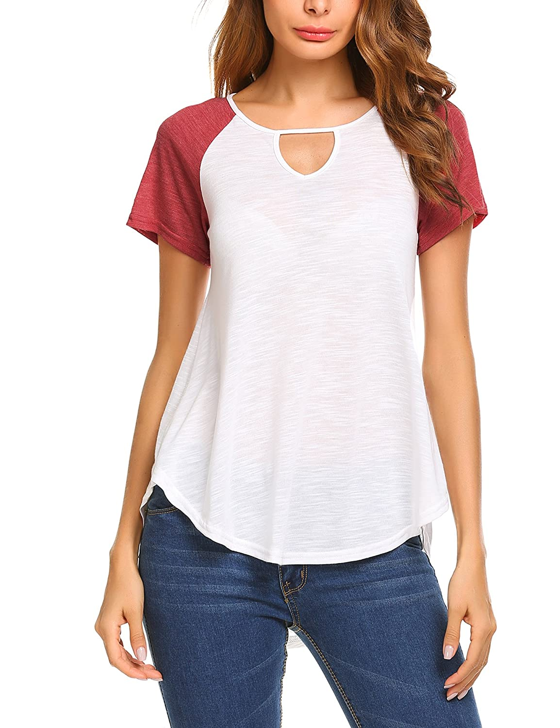 Zeagoo Women's Casual Round Neck Loose Fit Short Sleeve T-Shirt Blouse Tops