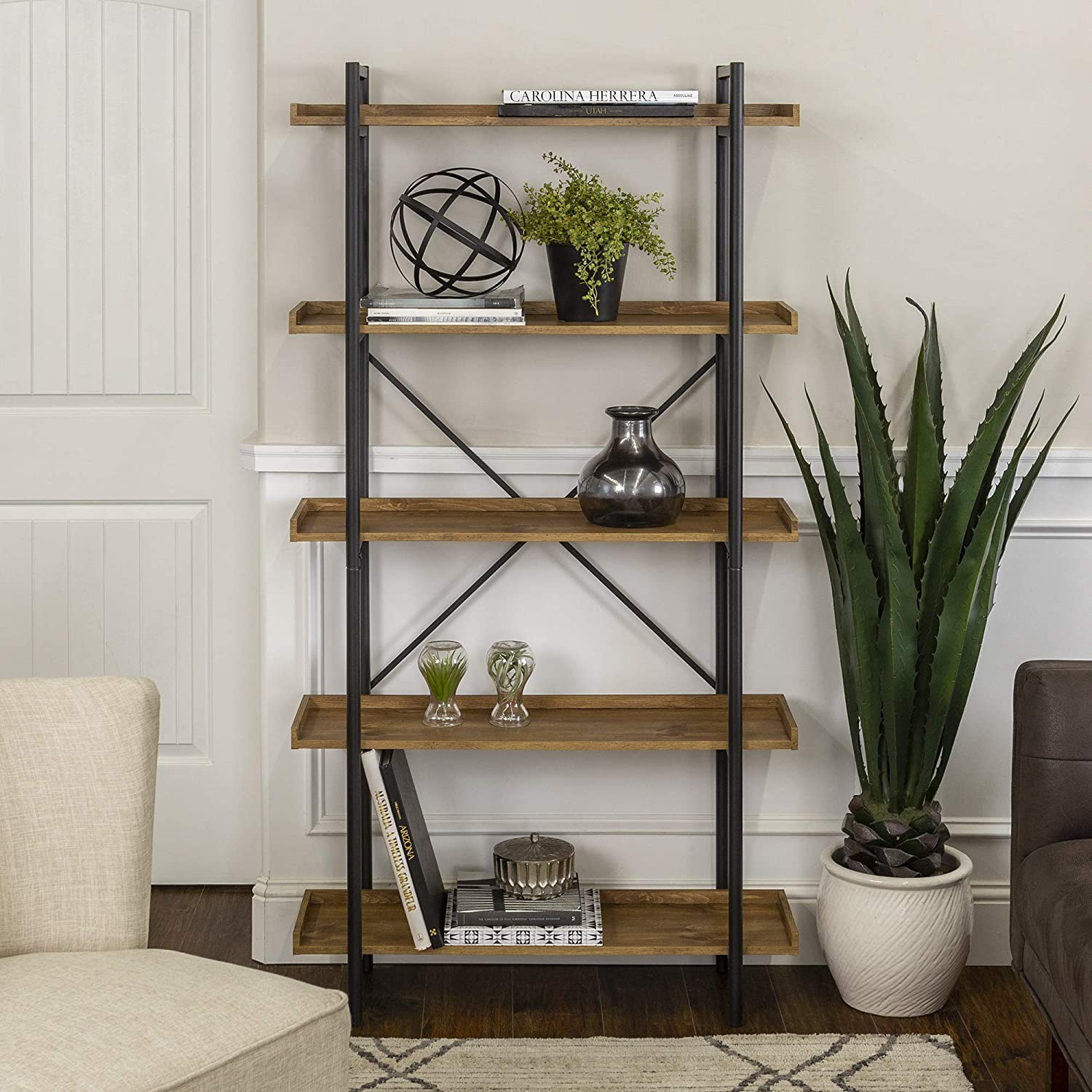 WE Furniture AZS68UPAG Urban Pipe Bookshelf, Barnwood
