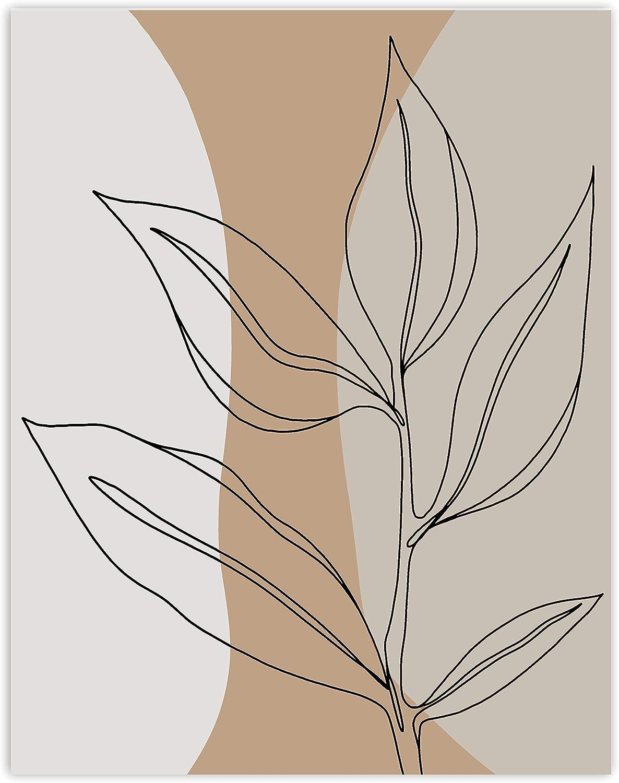Printsmo Botanical Leaf Art Print, Neutral Decor Modern Art, Minimalist Art Prints for Home Decor, Earth Tones Abstract Boho Style Wall Art Poster, Bohemian Wall Decor, 11x14 Inches, Unframed