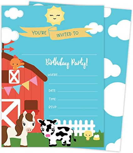 Amazon.com: Barnyard granja Happy tarjetas de invitaciones ...