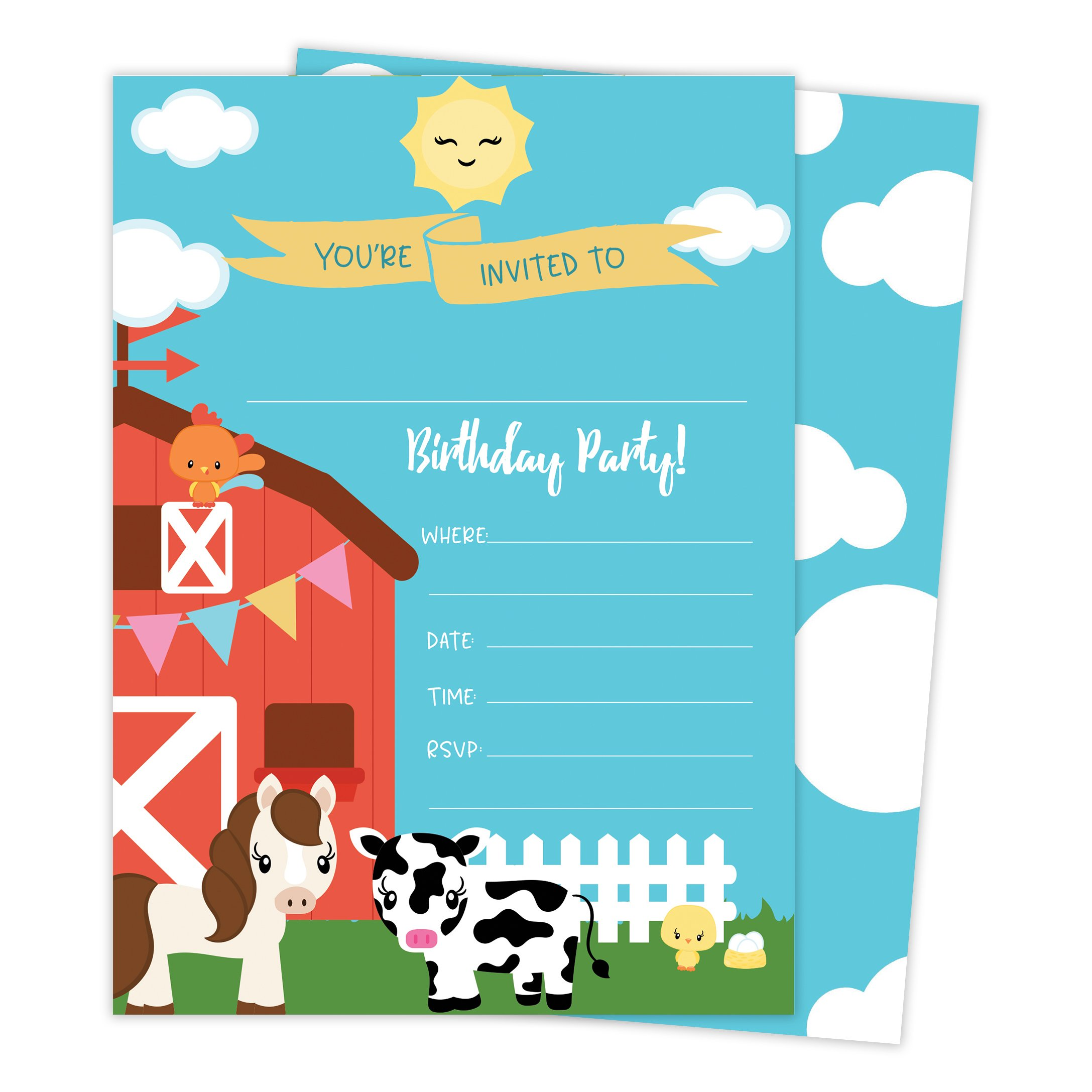 Barnyard Farm Happy Birthday Invitations Invite Cards (25 Count) with Envelopes & Seal Stickers Boys Girls Kids Party (25ct) by Desert Cactus (Image #1)