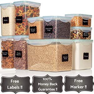 TALL WIDE DEEP Food Storage Containers - Sugar, Flour Plastic Containers 20 pc (set of 10) - 18 FREE Chalkboard labels & Marker - Airtight, Leakproof, BPA Free - Microwave, Freezer & Dishwasher Safe