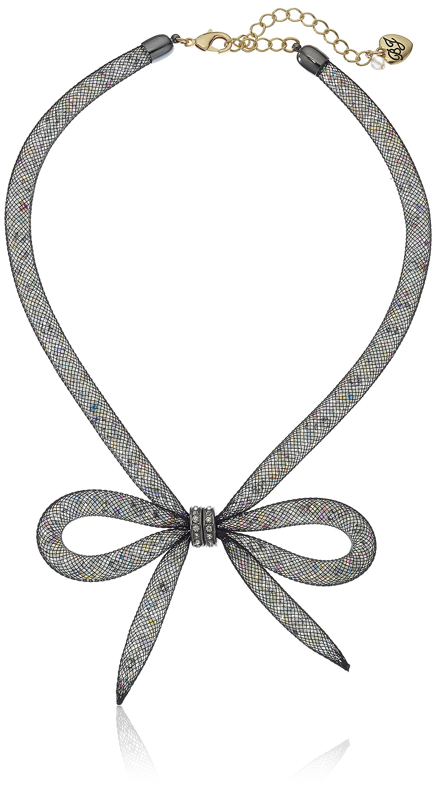 """Betsey Johnson """"Memoirs of Betsey"""" Mesh Bow Necklace, 16″ + 3″ Extender"""