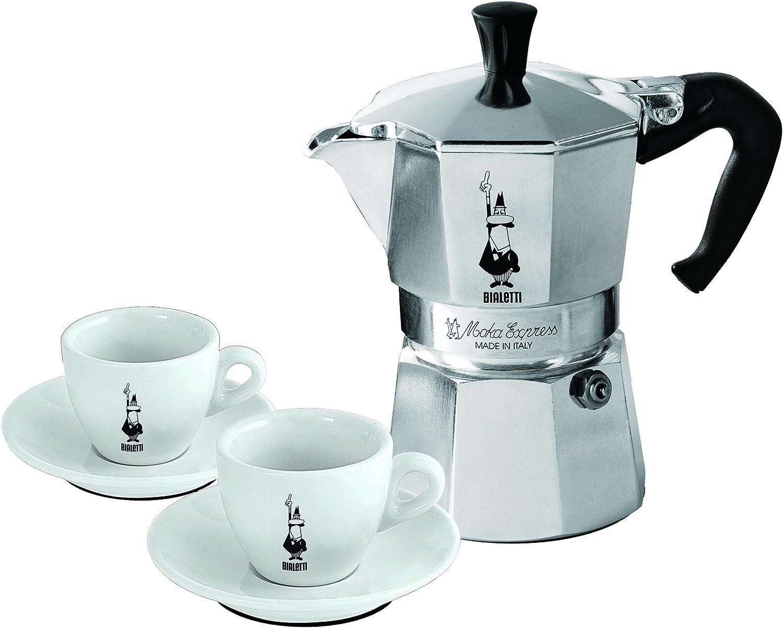 Bialetti 3890 - Cafetera italiana con 2 tazas de expreso con ...