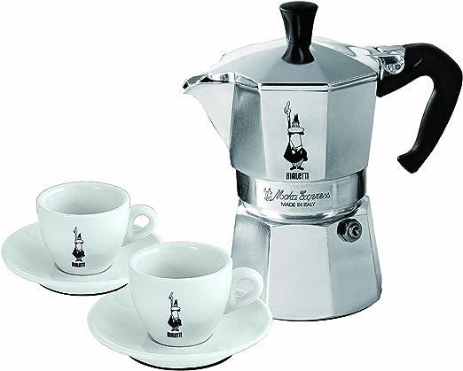Bialetti 3890 - Cafetera italiana con 2 tazas de expreso con platos: Amazon.es: Hogar
