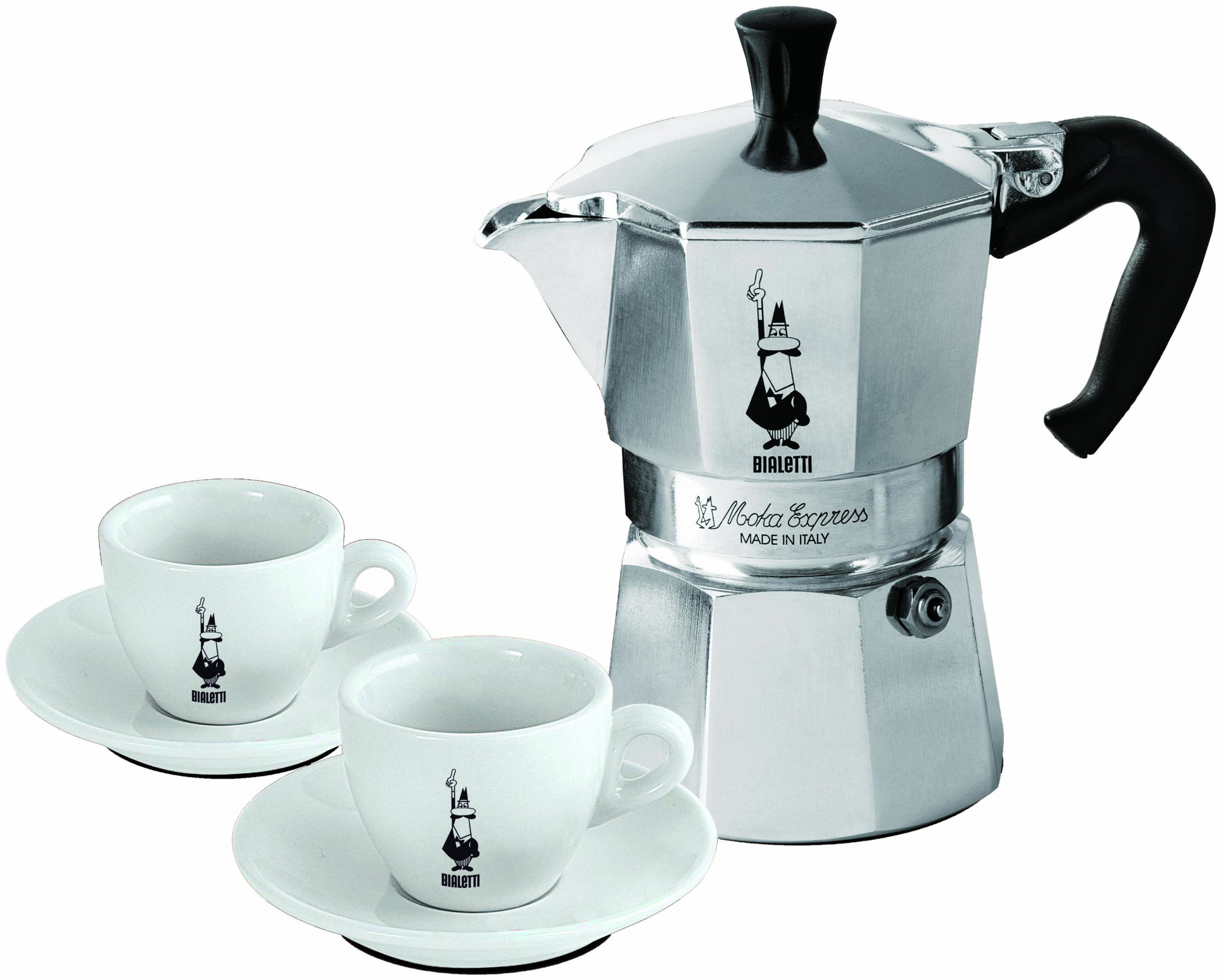 Bialetti Moka - Stove Top Espresso Maker Set - Includes 2 Espresso Cups & Saucers - Aluminium with Black Handle - 3 Cup
