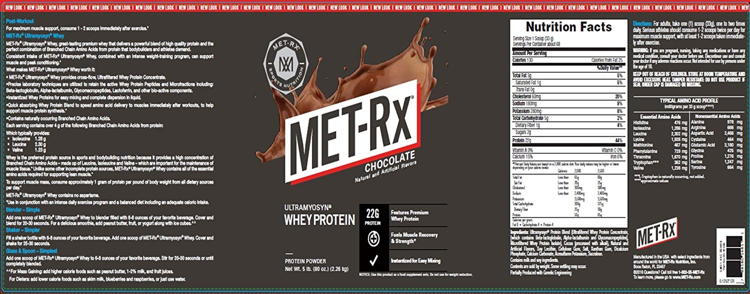 MET-Rx Ultramyosyn Whey Protein Powder, Great for Meal Replacement Shakes, Low Carb, Gluten Free, Chocolate, 5 lbs