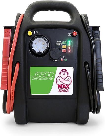 MAXTOOLS JS500, Arrancador y Batería de Emergencia para Turismos y Furgonetas, 2200A 22Ah, para Motores de Gasolina y Gasóleo, Jump Starter, Booster, con Linterna LED y Puerto USB: Amazon.es: Coche y moto