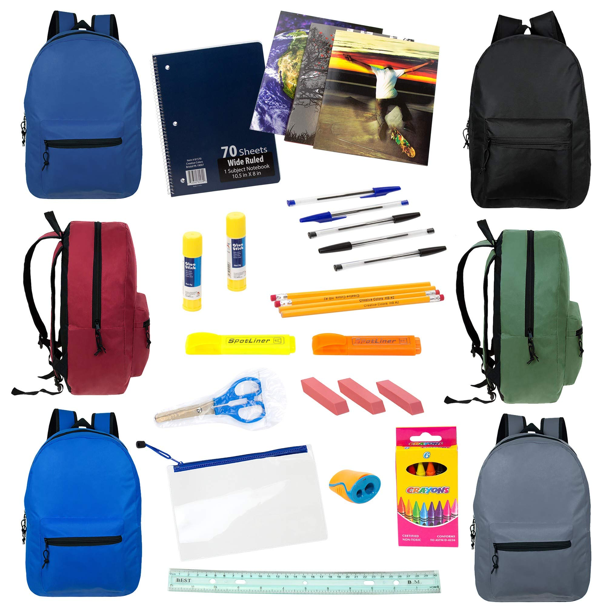 19'' Wholesale Backpacks in 6 Assorted Colors with 24 Piece School Supply Kit - Bulk Case of 12