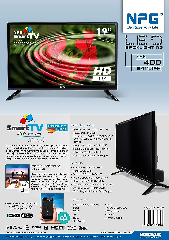 f51026ece71c3 NPG Tvs411l19h Televisor 19   Lcd Led Hd Smart Tv  Amazon.co.uk  Electronics