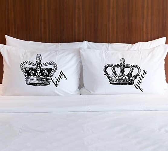 "Pillowcase Set Gift for Couples ""King & Queen"" Royal Crown Vintage Chic Pillowcases Wedding Gift or Anniversary Gift for Him or Her"