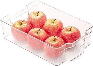 Smart Design Stackable Refrigerator Bin - (8 x 12 Inch) - w/Handle - BPA Free Polyethylene - for Fridge, Freezer, Pantry Organization - Kitchen [Clear]