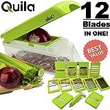 Quila. 12-In-1 Vegetable Chopper & Slicer + FREE EBOOK ! - Cuber & Dicer Food Cutter Cheese Grater Fruit Peeler Mandolin Slice Premium Stainless Steel Blade. Prime. FDA Approved.