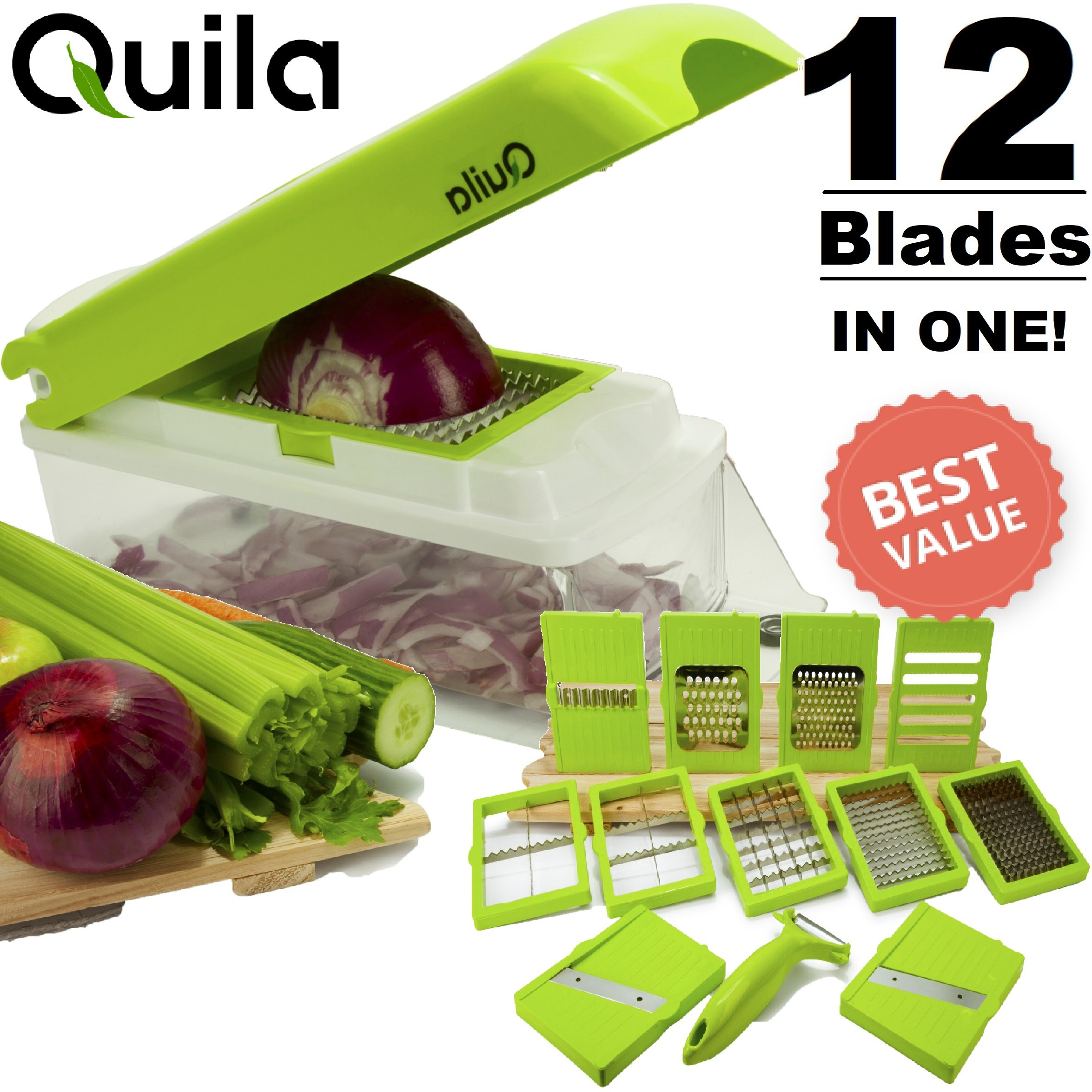 Quila. 12-In-1 Vegetable Chopper & Slicer + FREE EBOOK ! - Cuber & Dicer Food Cutter Cheese Grater Fruit Peeler Mandolin Slice Premium Stainless Steel Blade. Prime. FDA Approved.