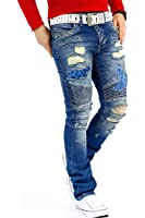 RedBridge Herren Jeans Freizeitjeans Freizeithose Denim Hose Slim Fit Streetwear Biker Clubwear Mens Pants Extreme Destroyed