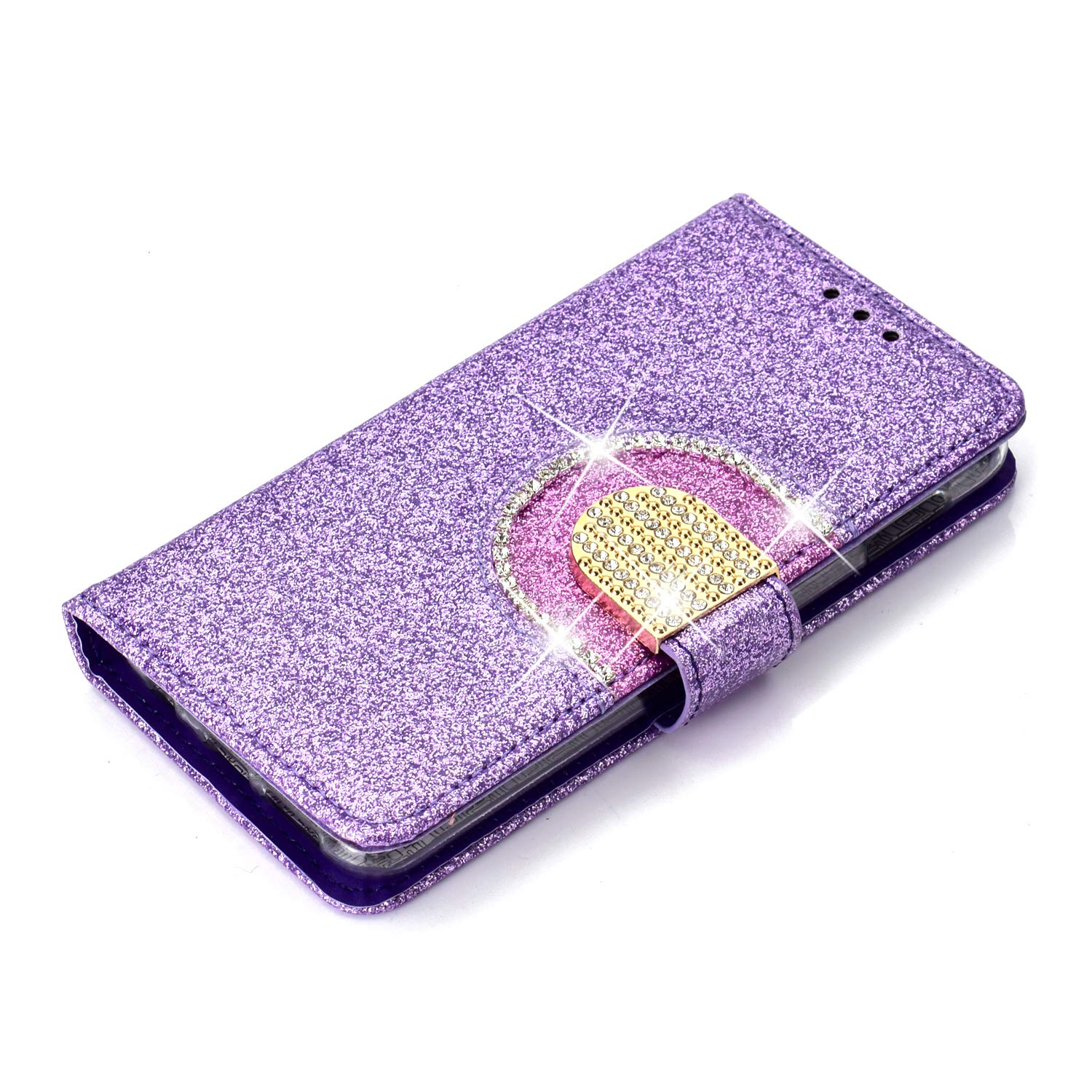 WIWJ Wallet Case Fit Samsung Galaxy S10E Glitter Sparkle With Card Holder/&Stand Phone Case for Girls Women Diamond Buckle Mirror PU Leather Flip Cover Shockproof Case for Samsung Galaxy S10E-Black
