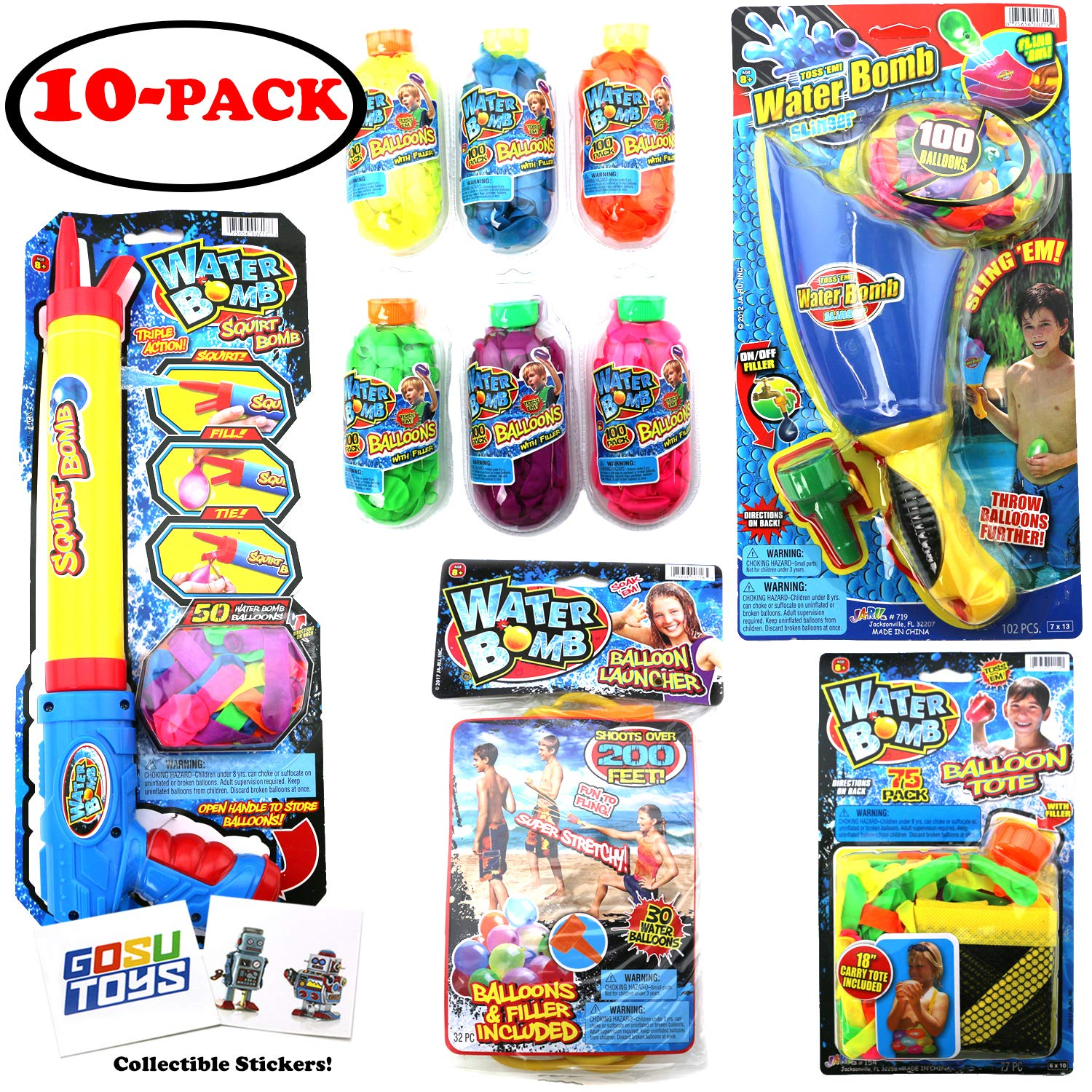 Ultimate 10 Piece Water Balloon Set 855 Water Balloons, Slinger, Carry Tote, Refill Gun, Water Balloon laucher Slingshot Water Balloon Party with 2 GosuToys Stickers by Gosu Toys