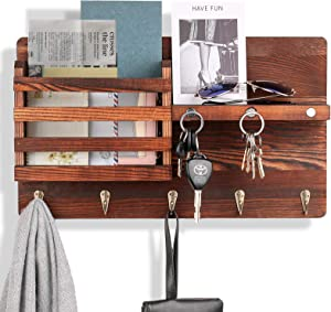 Key Holder for Wall Decorative with 5 Single Key Hook, Wall Mounted Key Hangers for Wall with Mail Key Rack, Wooden Mail Sorter Organizer Rustic Home Decor for Entryway Mudroom Hallway Kitchen Office