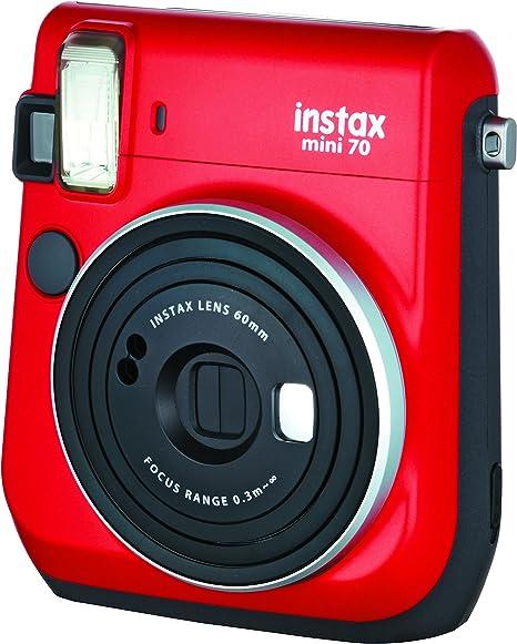 Fujifilm Instax Mini 70 - Cámara analógica instantánea (ISO 800, 0.37x, 60 mm, 1:12.7, Flash automático, Modo autorretrato, exposición automática, Temporizador, Modo Macro), Rojo pasión: Amazon.es: Electrónica
