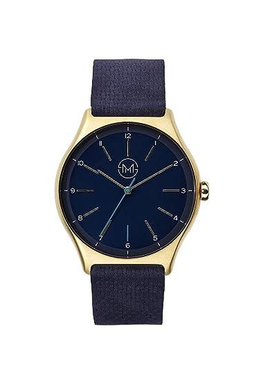 Slim fabricado One 10 – Extra Plano Reloj de pulsera en oro/azul: Amazon.es: Relojes