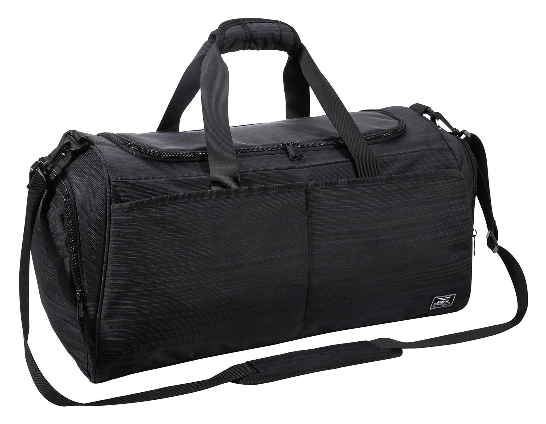 "MIER Gym Bag for Women and Men Sports Duffle with shoe Compartment, 21"", Black"