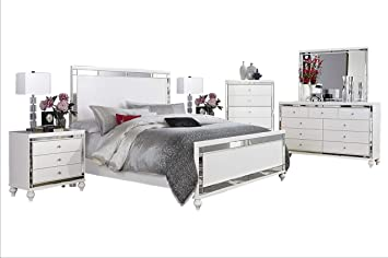Amazon Com Acevo Modern Mirrored 6pc Bedroom Set Cal King Bed