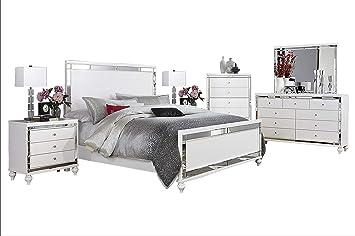 Amazon Com Acevo Modern Mirrored 6pc Bedroom Set Cal King Bed
