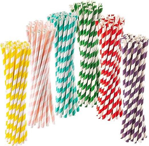 Pajitas de papel biodegradables reciclables en 6 colores surtidos ...