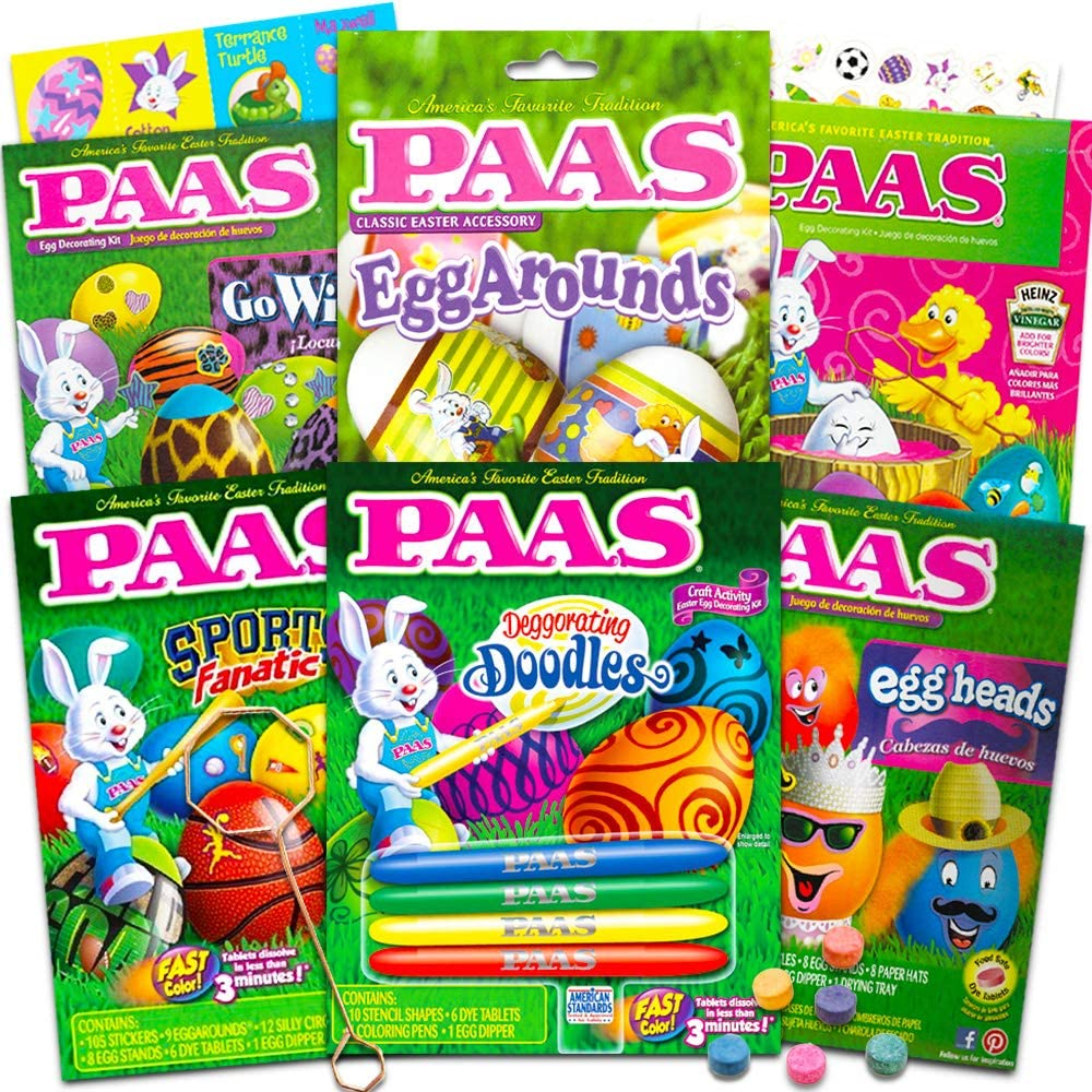 PAAS Easter Egg Decorating Kit Variety Pack -- 12 Deluxe Egg Coloring Kits  with Tools and Dye Tablets, No Duplicates (Easter Egg Decorating Supplies).
