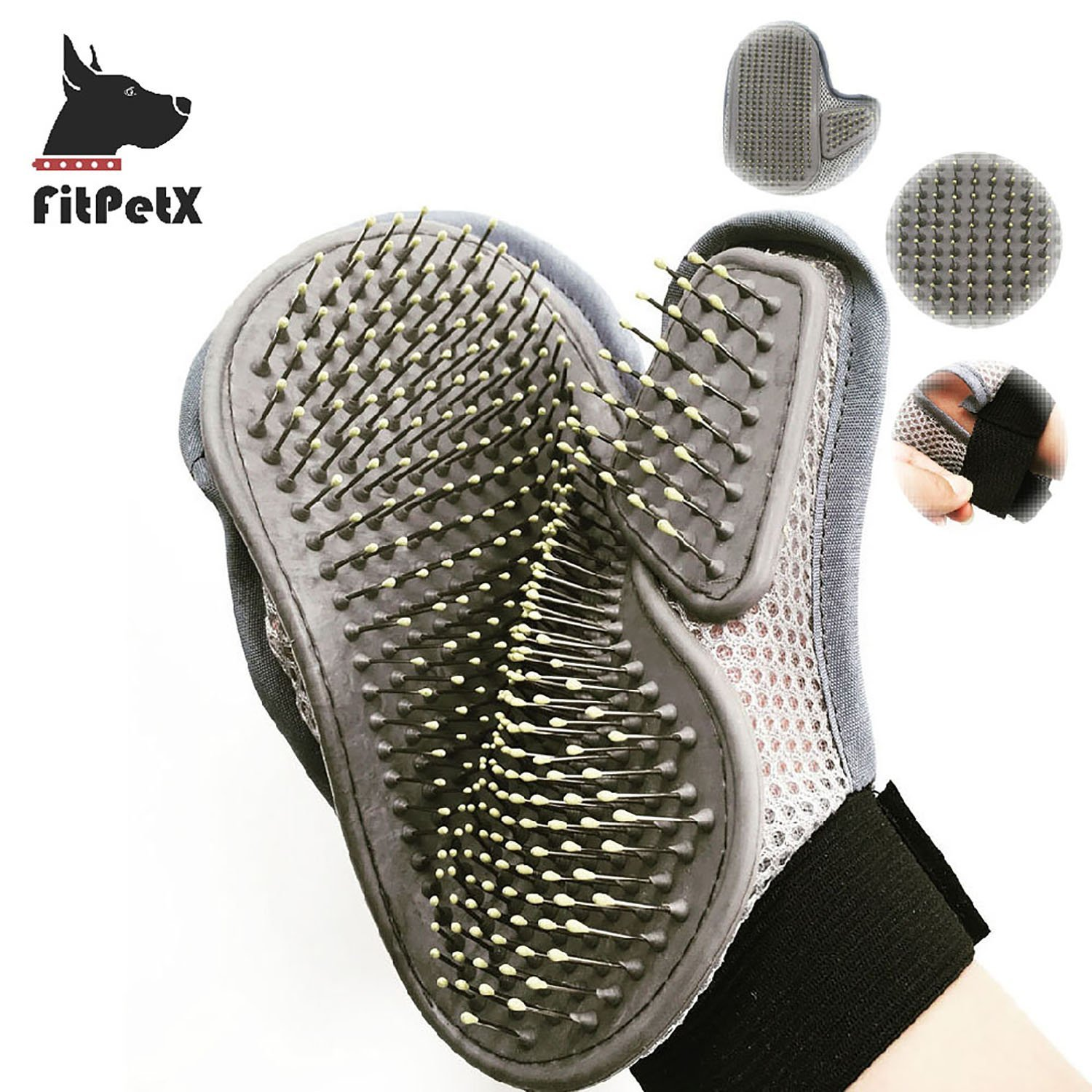 FitPetX Dog Cat Grooming Brush Glove Hair Beauty Gloves Hair Remover for Long & Short Hair, Great Pet Shedding Brush