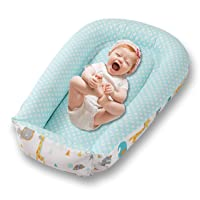 Premium Baby Nest Lounger - Soft Baby Nest Sleeper - Made of Durable 100% Cotton - Portable Newborn Lounger for Baby 0-24 Months - Perfect for Travelling, Safari Animals