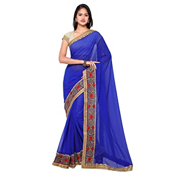 Chirag Sarees Designer Party Wear Blue Embroidered Saree hellip; Sarees available at Amazon for Rs.1540