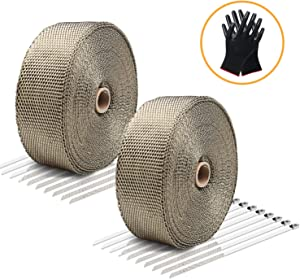 "LIBERRWAY Exhaust Wrap Header Wrap Exhaust Heat Wrap Tap Kit for Car Motorcycle, 2 Rolls of 2"" x50Ft with 20 Stainless Ties and Gloves"