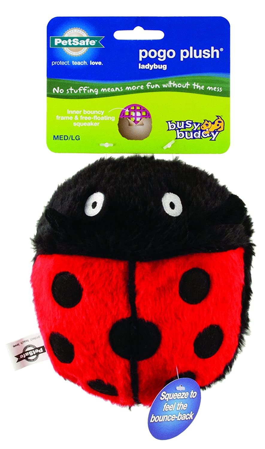 pet supplies pet squeak toys petsafe pogo plush ladybug dog