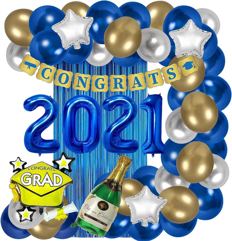 ORIENTAL CHERRY Graduation Party Supplies - Decorations 2021 Blue Gold White - Foil Balloons Fringe Curtain Congrats Grad Banner - Class of 2021 Kindergarten High School Preschool Decor