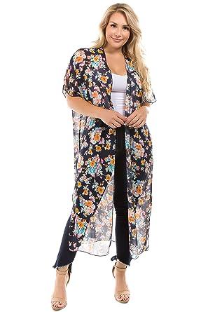 3e7dfbdac Bubble B Women's Plus Size Floral Print Long Length Kimono Cardigan Navy 1X